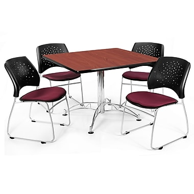 OFM™ 36in. Square Multi-Purpose Cherry Table With 4 Chairs, Burgundy