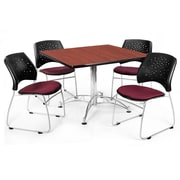 "OFM™ 42"" Square Multi-Purpose Cherry Table With 4 Chairs, Burgundy"