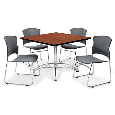 OFM™ 36in. Square Multi-Purpose Cherry Table With 4 Chairs, Gray