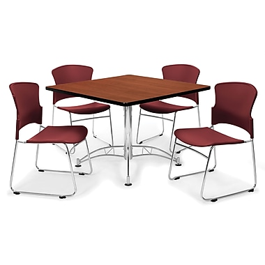 OFM™ 36in. Square Multi-Purpose Cherry Table With 4 Chairs, Wine