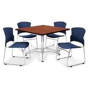 "OFM™ 42"" Square Multi-Purpose Cherry Table With 4 Chairs, Navy"