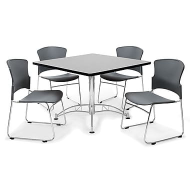OFM™ 42in. Square Multi-Purpose Gray Nebula Table With 4 Chairs, Gray