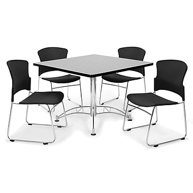 OFM™ 42in. Square Multi-Purpose Gray Nebula Table With 4 Chairs, Black