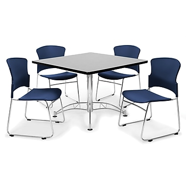 OFM™ 42in. Square Multi-Purpose Gray Nebula Table With 4 Chairs, Navy
