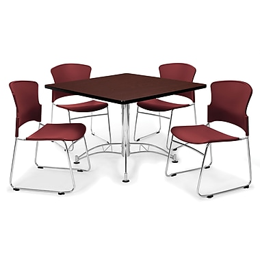OFM™ 42in. Square Multi-Purpose Mahogany Table With 4 Chairs, Wine