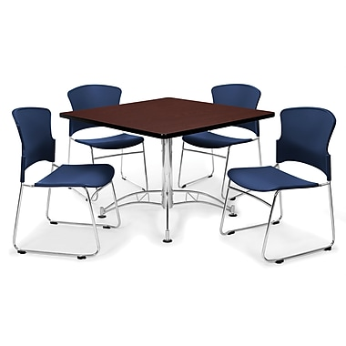 OFM™ 36in. Square Multi-Purpose Mahogany Table With 4 Chairs, Navy