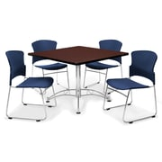 "OFM™ 42"" Square Multi-Purpose Mahogany Table With 4 Chairs, Navy"