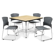OFM™ 36 Square Multi-Purpose Laminate Oak Table With 4 Chairs, Gray