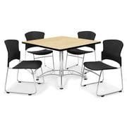 OFM™ 36 Square Multi-Purpose Laminate Oak Table With 4 Chairs, Black