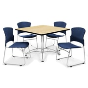 OFM™ 36 Square Multi-Purpose Laminate Oak Table With 4 Chairs, Navy