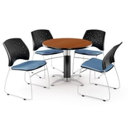 """OFM™ 42"""" Round Multi-Purpose Cherry Table With 4 Chairs, Cornflower Blue"""