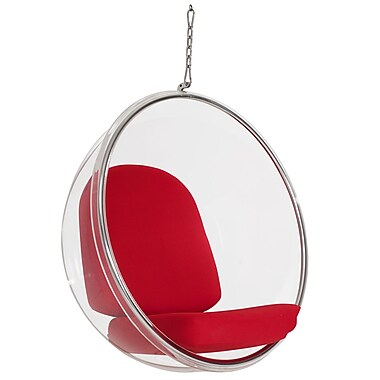 Modway Ring Vinyl Lounge Chair, Red