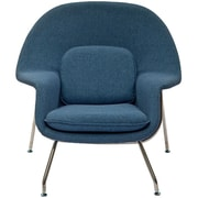 Modway W Foam Padded Lounge Chair With Ottoman, Blue Tweed