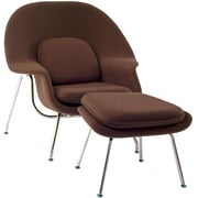 Modway W Foam Padded Lounge Chair With Ottoman, Brown