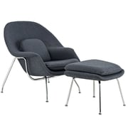 Modway W Foam Padded Lounge Chair With Ottoman, Dark Gray