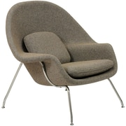 Modway W Foam Padded Lounge Chair With Ottoman, Oatmeal