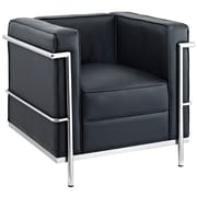 Modway Le Corbusier Style LC2 Leather Armchair, Black