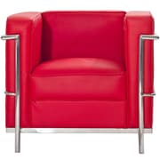 Modway Le Corbusier Style LC2 Leather Armchair, Red