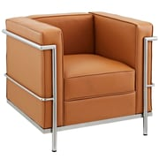 Modway Le Corbusier Style LC2 Leather Armchair, Tan