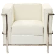 Modway Le Corbusier Style LC2 Leather Armchair, White