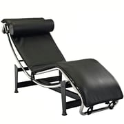 Modway Le Corbusier LC4 Leather Chaise Lounge Chair, Black