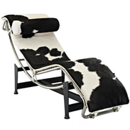 Modway Le Corbusier LC4 Pony Hide Leather Chaise Lounge Chairs
