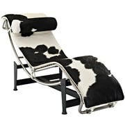 Modway Le Corbusier LC4 Pony Hide Leather Chaise Lounge Chair, White/Black