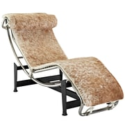 Modway Le Corbusier LC4 Pony Hide Leather Chaise Lounge Chair, White/Brown