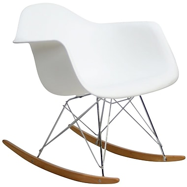 Modway Rocker Molded Plastic Lounge Chair, White