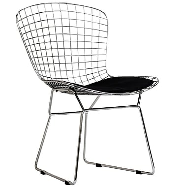 Baxton Studio Bertoia Style Side Chair with Black Cushion