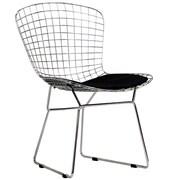 Baxton Studio Bertoia Style Side Chair with Black Cushion