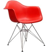 Modway Paris 21H Molded Plastic Wire Base Dining Armchair, Red
