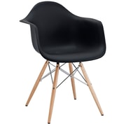 Modway Pyramid 24H Molded Plastic Dining Armchair, Black