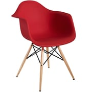 Modway Pyramid 24H Molded Plastic Dining Armchair, Red