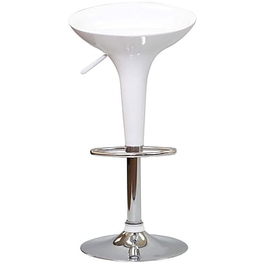Modway Ice Cream Fiberglass/Chrome Bar Stool, White