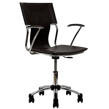 Modway EEI-198-BRN Vinyl Mid-Back Task Chair with Fixed Arms, Brown