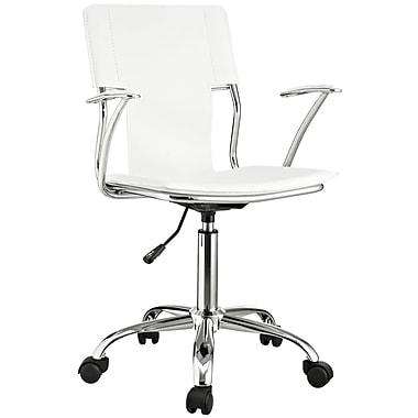 Modway Vinyl Studio Mid Back Office Chair, White