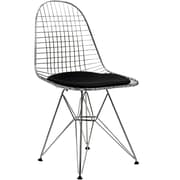"Modway Tower 34""H Vinyl Dining Wire Side Chair, Black"