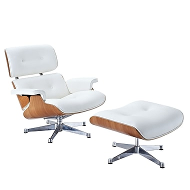 Modway Eaze Leather Lounge Chair, White/Natural