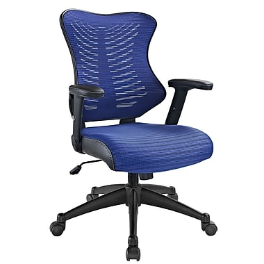 Modway EEI-209-BLU Leatherette Mid-Back Executive Chair with Adjustable Arms, Blue