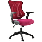 Modway Mid-Back Leatherette Executive Chair, Adjustable Arms, Red
