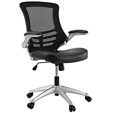 Modway Attainment Padded Leatherette Mid Back Office Chair, Black