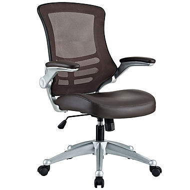 Modway Leatherette Mid-Back Executive Chair, Adjustable Arms, Brown