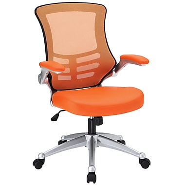Modway EEI-210-ORA Leatherette Mid-Back Executive Chair with Adjustable Arms, Orange