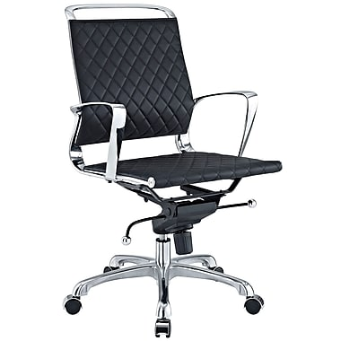 Modway Mid-Back Vibe Leather Executive Chair, Fixed Arms, Black