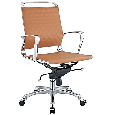 Modway EEI-227-TAN Vibe Leather Mid-Back Executive Chair with Fixed Arms, Tan
