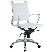 Modway EEI-227-WHI Vibe Leather Mid-Back Executive Chair with Fixed Arms, White