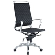 Modway Vibe High-Back Leather Executive Chair, Fixed Arm, Black
