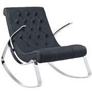 Modway Canoo Padded Leatherette Rocking Chair, Black