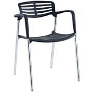 Modway Fleet Hard Plastic Stacking Chair, Black